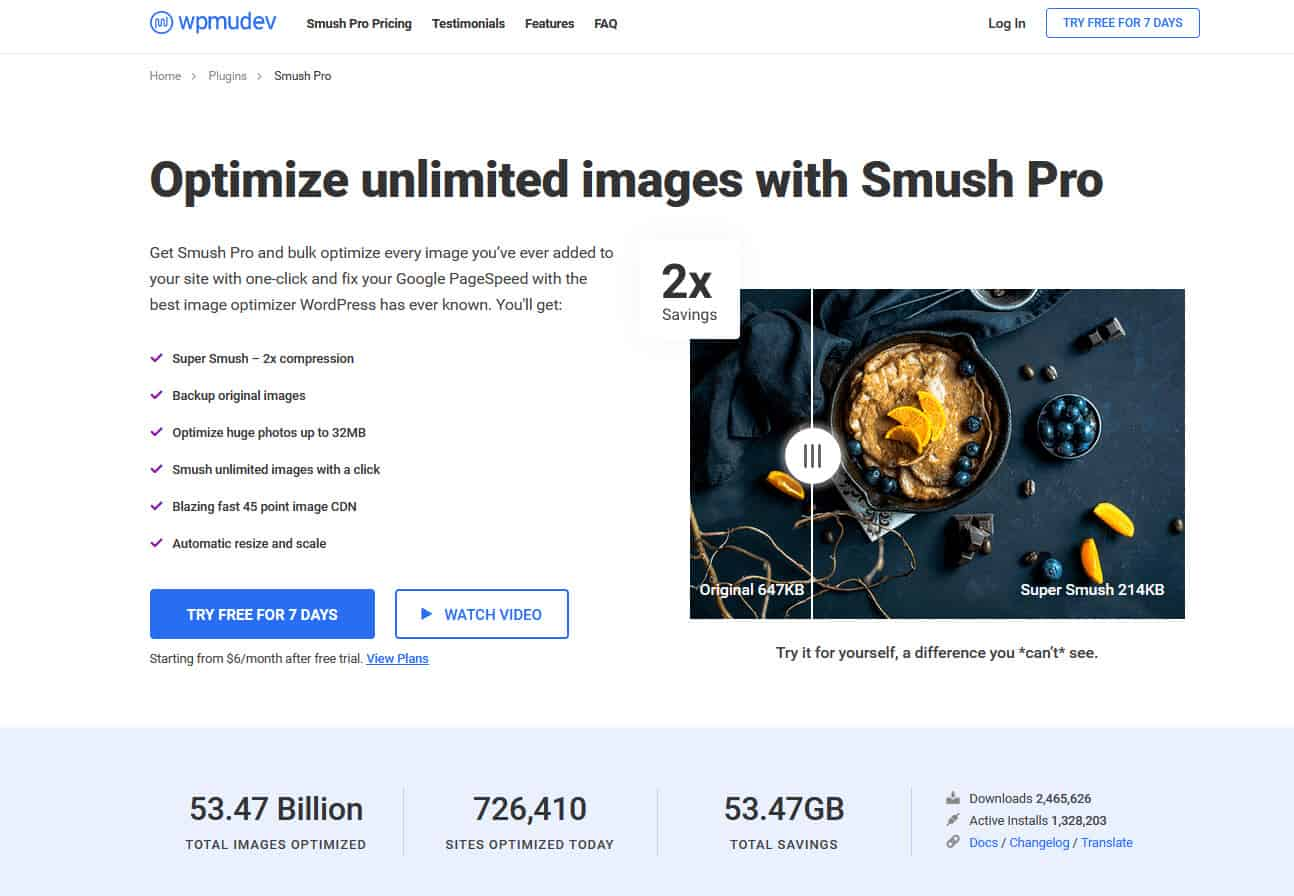 A screenshot of the Smush image compression and optimization plugin's homepage
